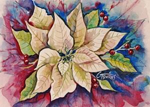 Artwork credit: White poinsettia watercolor by GG Burns - advocate for brain disease reform https://gg-burns.pixels.com
