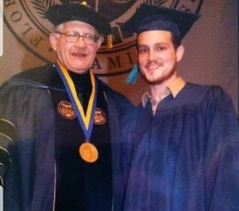 My son at his college graduation. He earned his degree in social work.