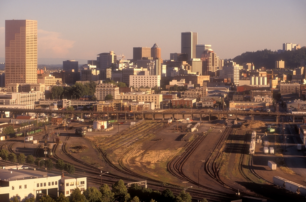 "In the 1970s the ""Northwest Triangle"" was in decline.  This inner city industrial area, on the doorstep of downtown, was ripe for redevelopment.  The area had a special character; it had grit, and there were acres of idle railroad tracks. Photo by Bruce Forster©"