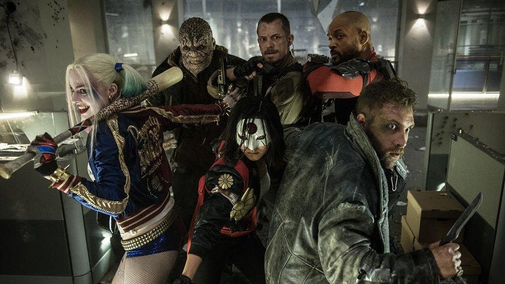 Clockwise from the top:Adewale Akinnuoye Agbaje,Joel Kinnaman, Will Smith, Jai Courtney, Karen Fukuhara, and Margot Robbie star in 'Suicide Squad'.