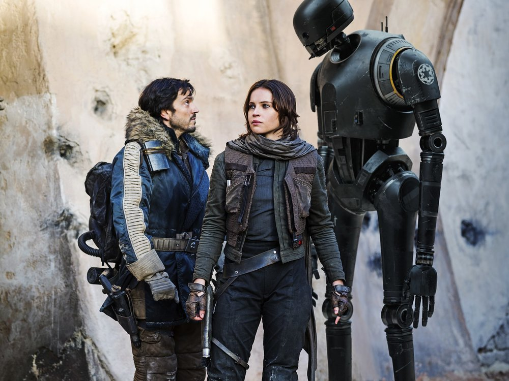 Diego Luna, Felicity Jones, and Alan Tudyk star in 'Rogue One: A Star Wars Story'.