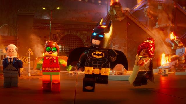Ralph Fiennes (LEGO Alfred), Michael Cera (LEGO Robin), Will Arnett (LEGO Batman), and Rosario Dawson (LEGO Barbara Gordon) star in 'The Lego Batman Movie'.