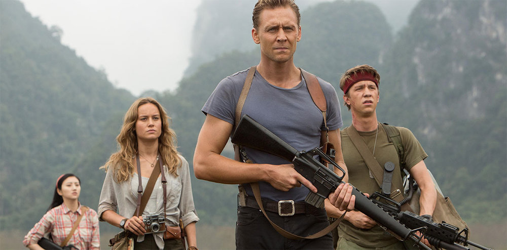 Tian Jing, Brie Larson, Tom Hiddleston, and Thomas Mann star in 'Kong: Skull Island'.
