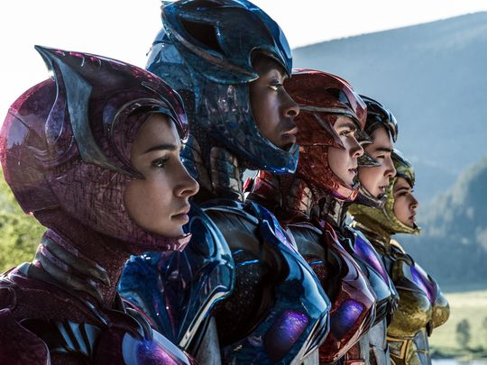 Naomi Scott, R.J. Cyler, Dacre Montgomery, Ludi Lin, and Becky G. star in 'Saban's Power Rangers'.