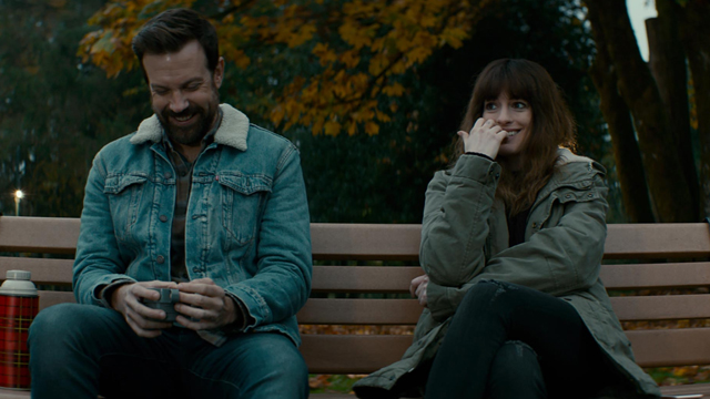Jason Sudeikis and Anne Hathaway star in 'Colossal'.
