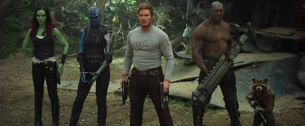 Zoe Saldana, Karen Gillan, Chris Pratt, Dave Bautista, and Bradley Cooper (Rocket Raccoon) star in 'Guardians of the Galaxy Vol. 2'.