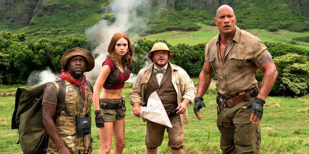 Kevin Hart, Karen Gillan, Jack Black, and Dwayne Johnson star in 'Jumanji: Welcome to the Jungle'.