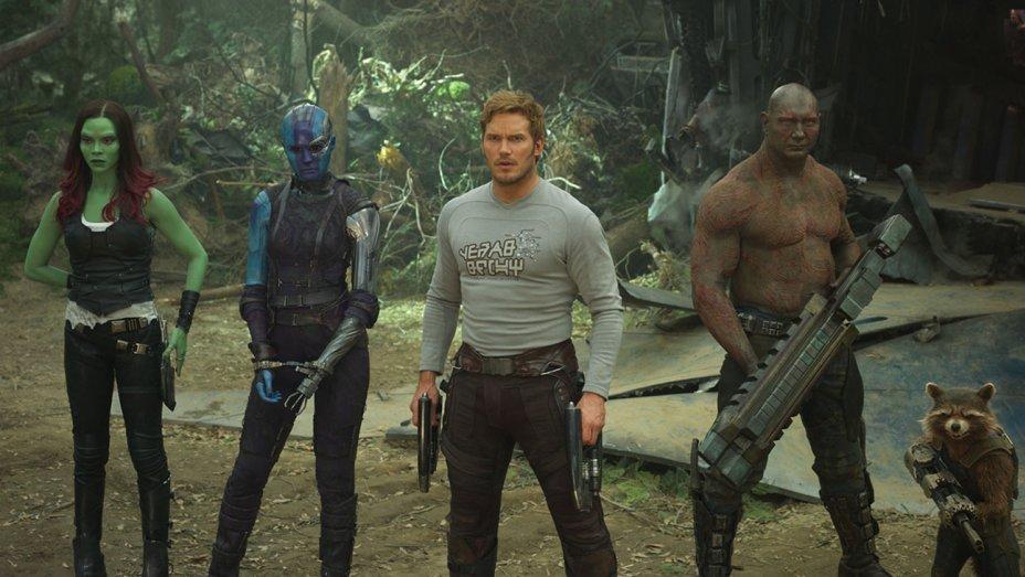 Zoe Saldana, Karen Gillan, Chris Pratt, Dave Bautista, and Bradley Cooper in 'Guardians of the Galaxy: Vol. 2'.