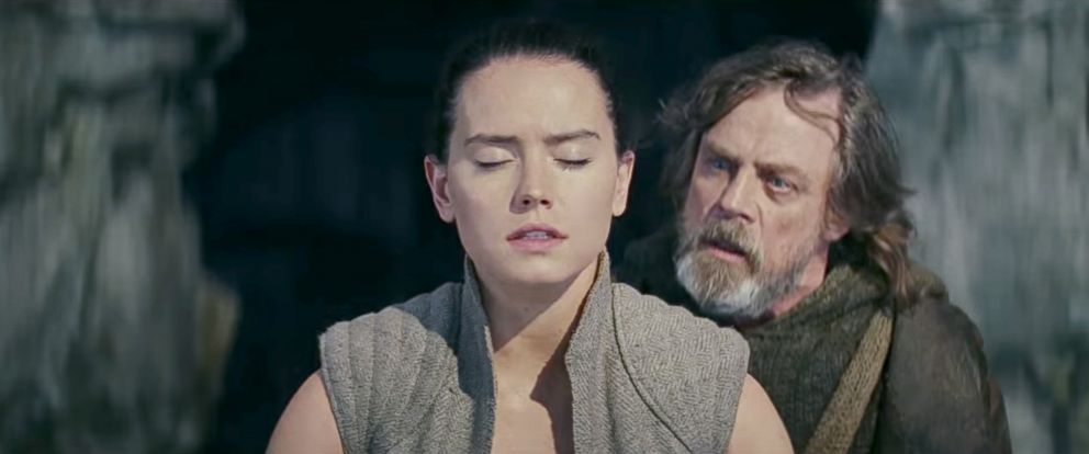 Daisy Ridley and Mark Hamill in 'Star Wars: The Last Jedi'.