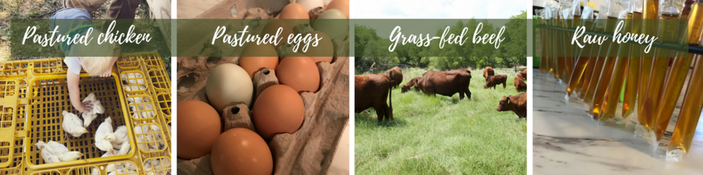 Pastured chicken Pastured eggs Grass-fed beef Raw honey.png
