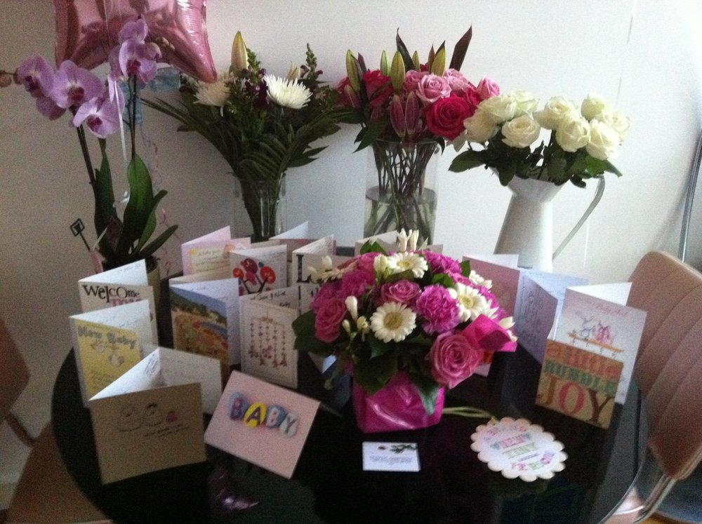flowers and cards post baby
