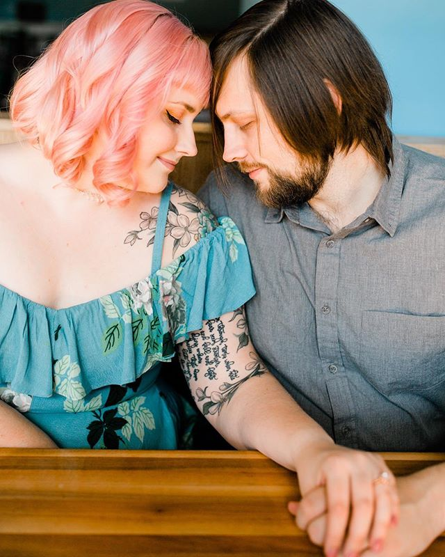 We finally took our engagement photos and the previews @lucystruve sent over have me SO EXCITED!! We look so cute!! Thanks to @kerbeylanecafe for marking so many occasions in our lives and letting us take our photos here too. 💖🥞✨ #mooresitesmorefun