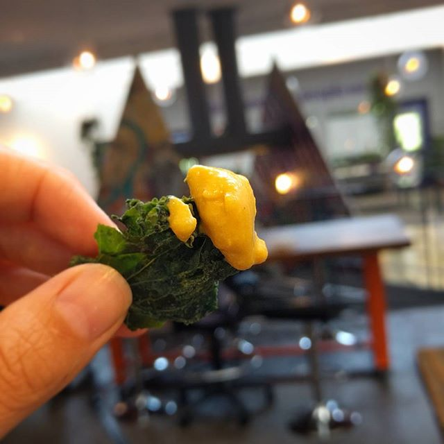 One glorious little bite of cheesy kale chip, comin' atcha! Perfect snack while working away at @techartista 👍  #cheesy #kalechip #thissnackrocks #coreandrind