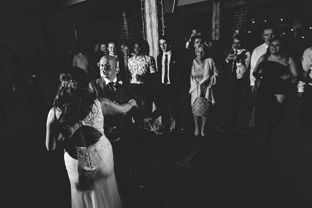 wedding guests enjoying evening celebrations