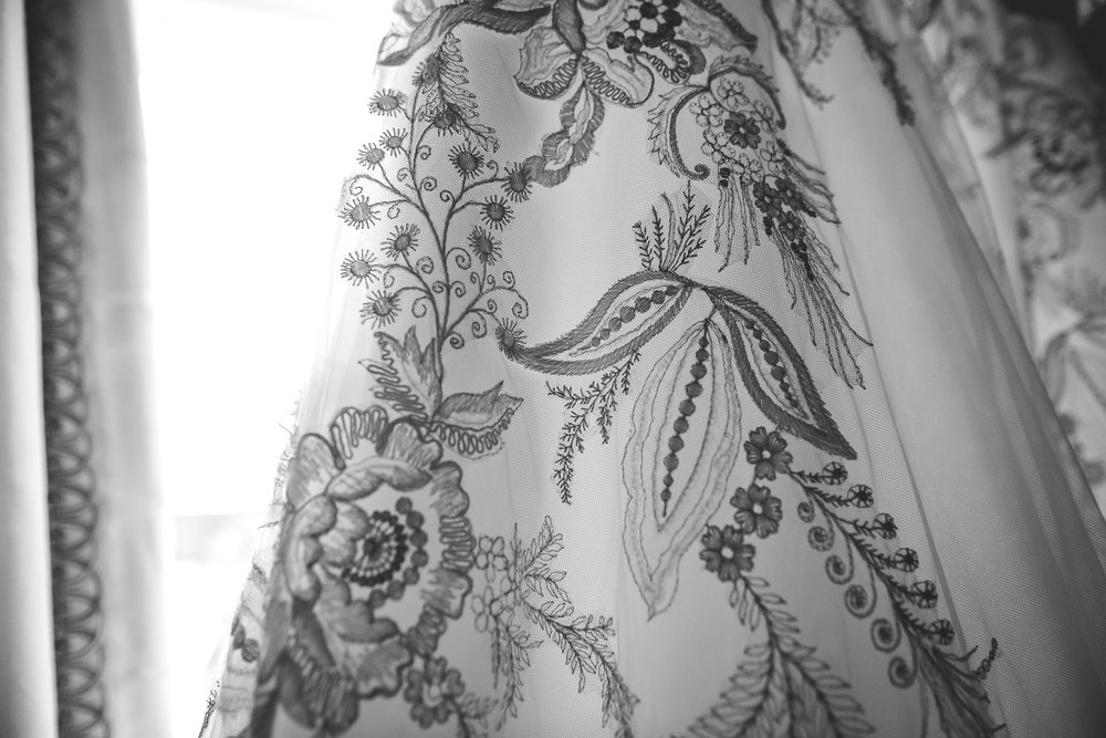 Monochrome image of wedding dress