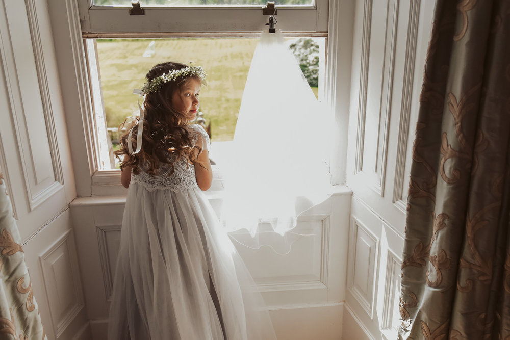 Flower girl waiting nervously