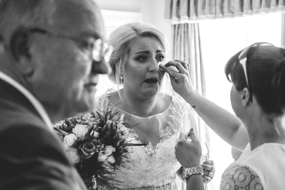 Bride getting emotional