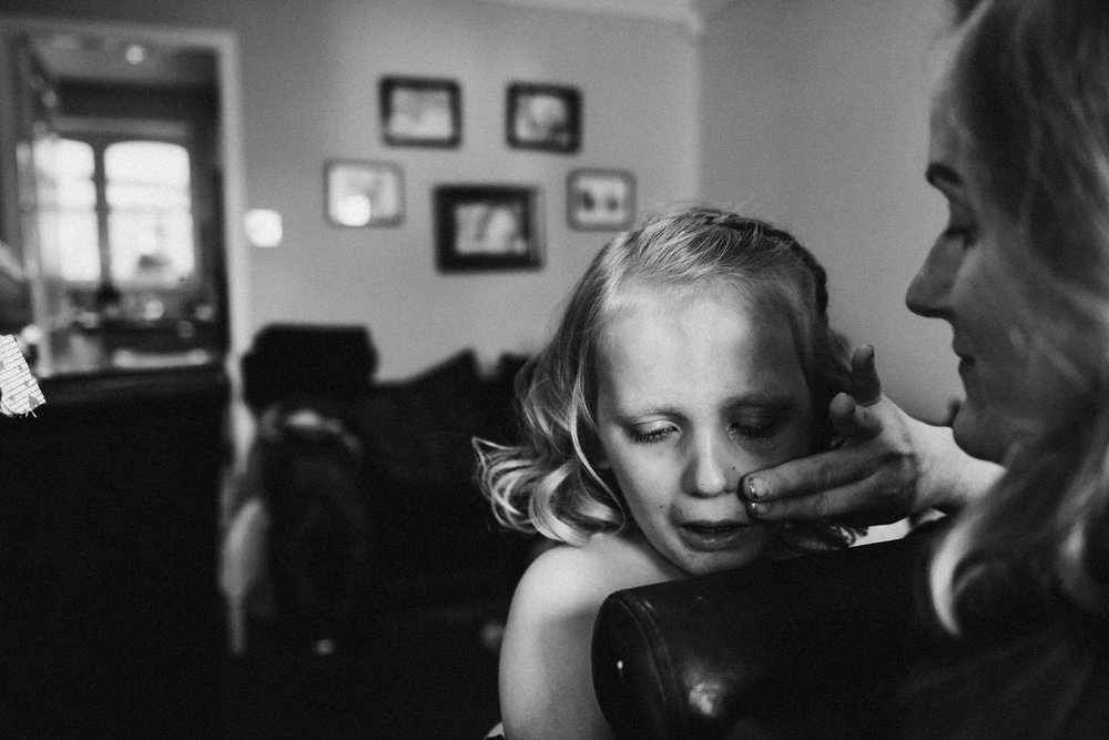 Flower girl crying