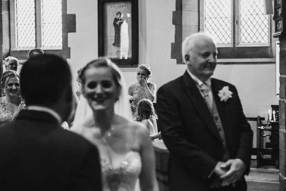 Bridesmaid getting emotional