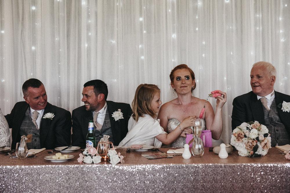 Bride cringing during the speeches