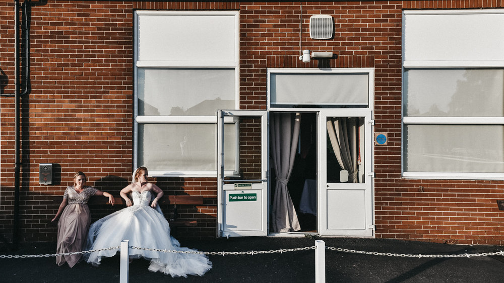 Bride having a minute alone