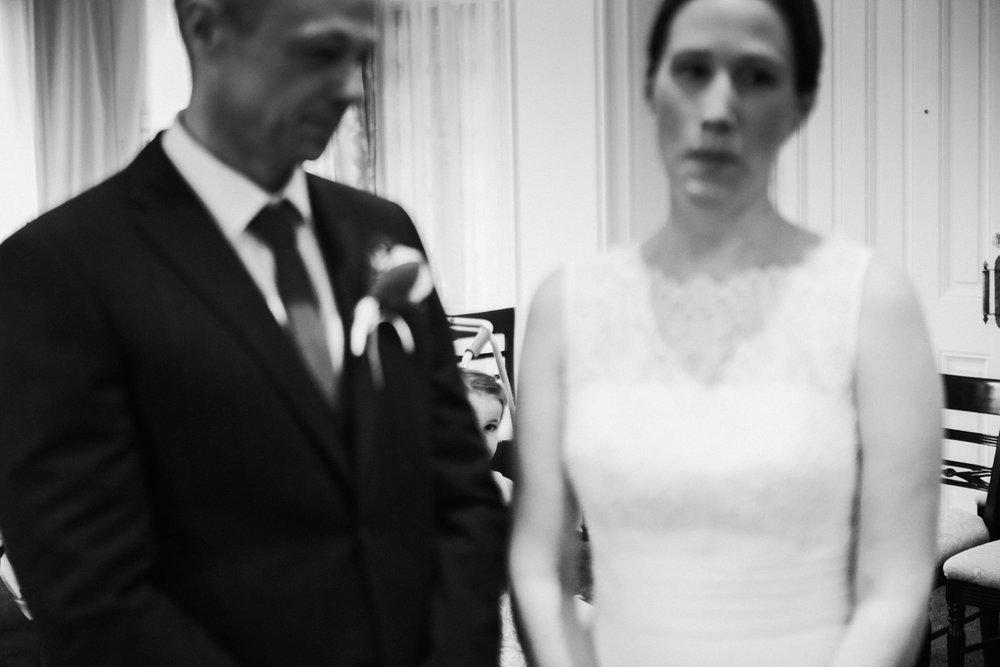 bridesmaid peeking