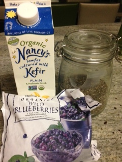 Kefir, Blueberries and Chia seeds