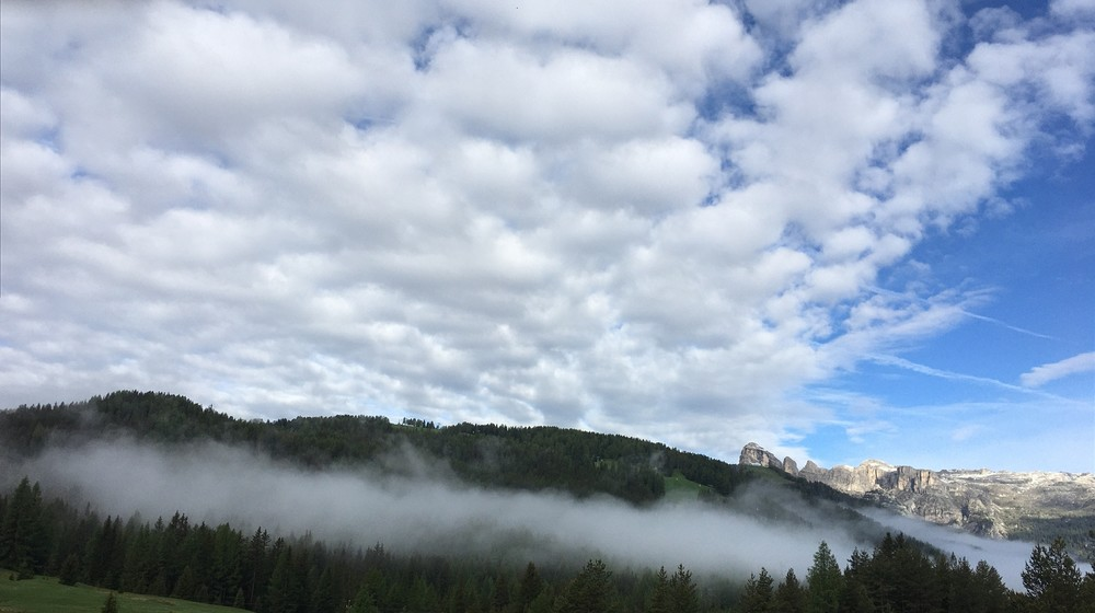 Clouds drifting in the Dolomites