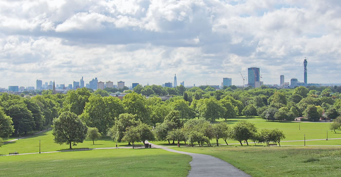 View from Primrose Hill over central London