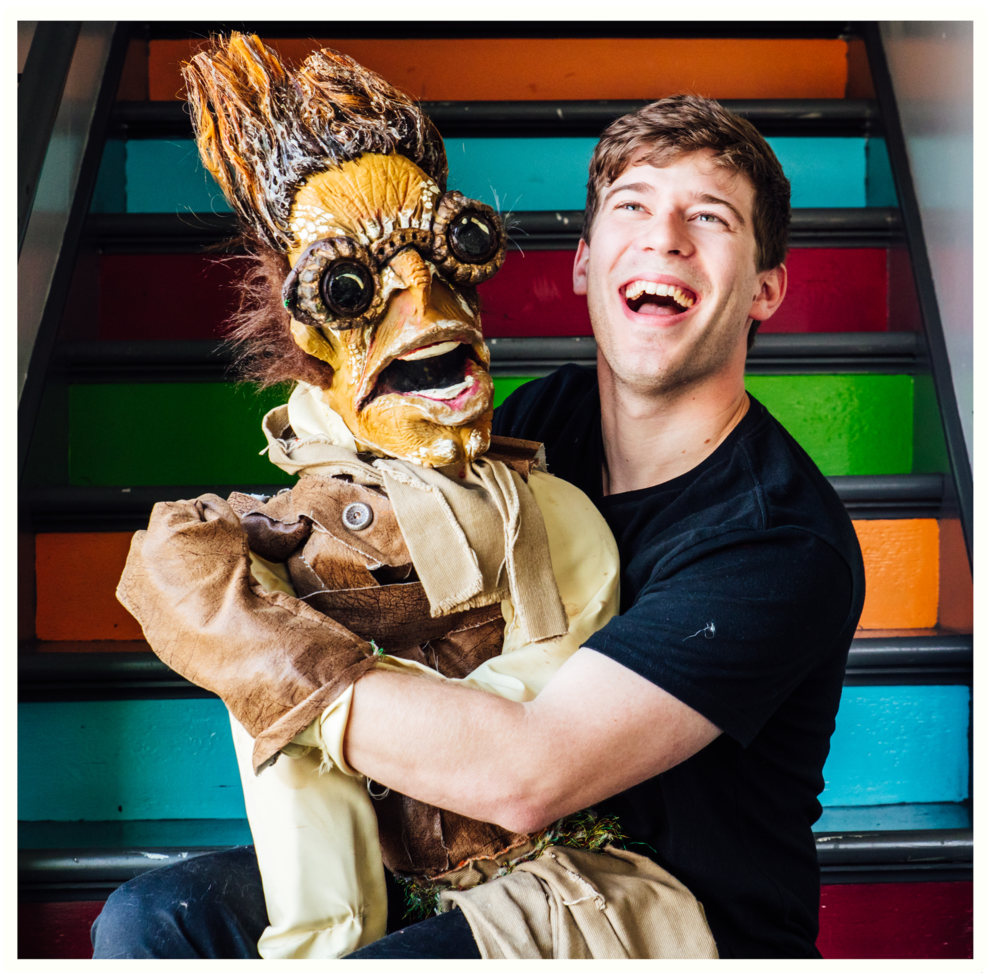 Michael & a friend prepping for Puppetry of the Lobster. Photo by James Jordan Pictures.