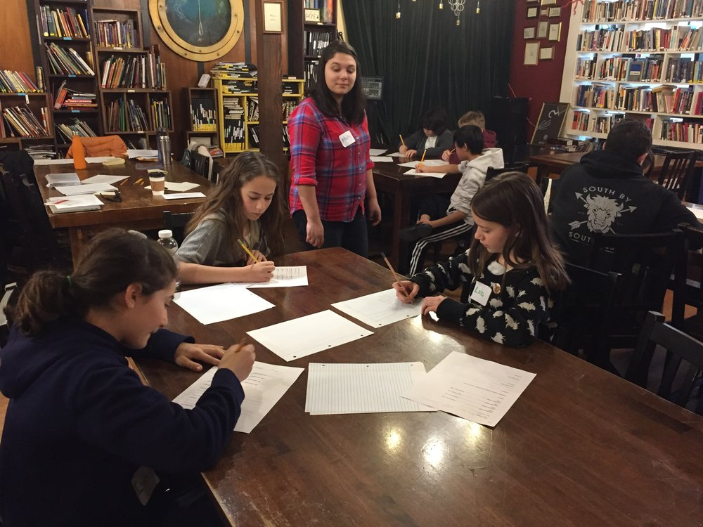 KML writer Molly Sanchez and 826 writers in a workshop.