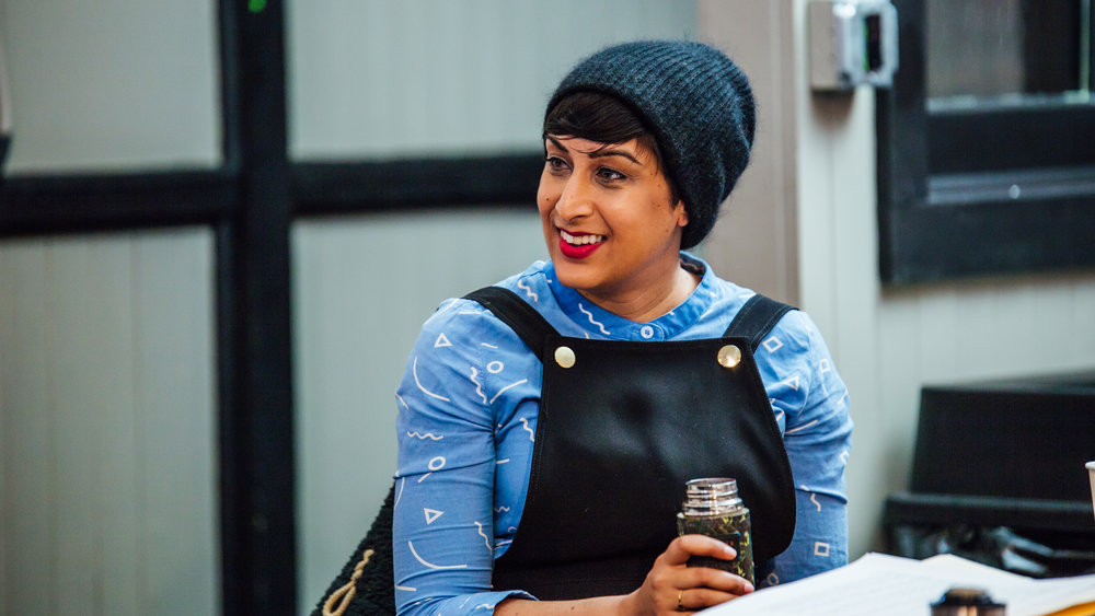 Rinee Shah in a writers meeting, 2017. Photo by James Jordan Pictures.