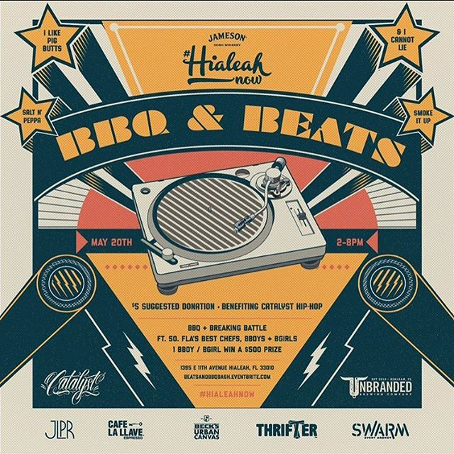 Five of six awesome events done, and we're on our last of the #HIALEAHNOW Series presented by @jamesonwhiskey! 🥃Please join us for our final event, the Beats and BBQ Bash on 👉🏼Saturday, May 20 from 2 p.m. - 8 p.m. at 🍺@unbrandedbrewing! Nothing like a good 'ol barbecue to bring people together along with some banging beats to jam to. This is a celebration of community through 🎶 music and 🎨 art and the most fitting close to our series. With your $5 donation to Catalyst, you can sample 🍖🍗🍖three of Miami's favorite barbecue restaurants' best dishes! 🍽 Full plates will also be available for sale.  Join the cypher or watch from the sidelines, you'll enjoy witnessing the Catalyst Crew and 🕺🏻🏃🏻‍♀️👯‍♂️🏃their award-winning breakdancing moves competing for the title of 🏆Best B-Boy/B-Girl and a 💰 $500 cash prize! 🎟🎟As always, we're open to the public with an RSVP at hialeahnow.eventbrite.com or our link bio! ⬆️
