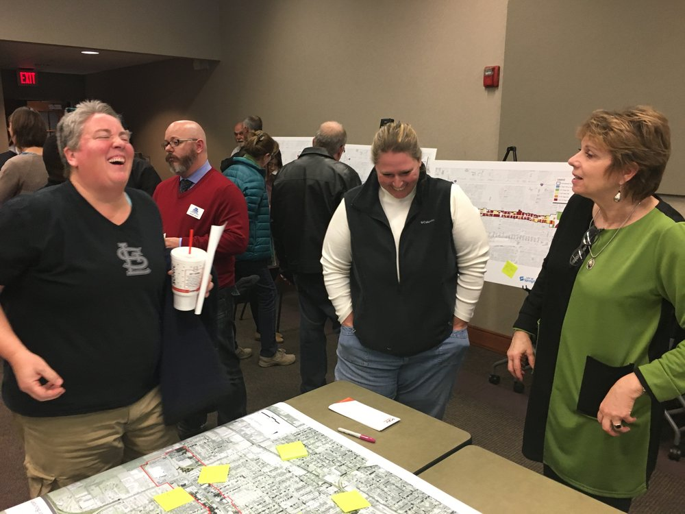 A public meeting with constituents and city staff in Springfield, Missouri. PGAV engaged the public to learn their ideas for economic development along the Kearney Street Corridor.