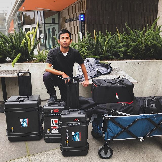 When you say you will be packing light! 😂 - - - - - #visitsacramento #behindthescenes #makingof #filmgear #videomaker #yourschoolyourview #mymikescamera #onset #onsetlife #filmproduction #ucberkeley #berkeley #onset🎥🎬 #videoproduction #sacramentoproud #sacramentophotographer @leomarmoring
