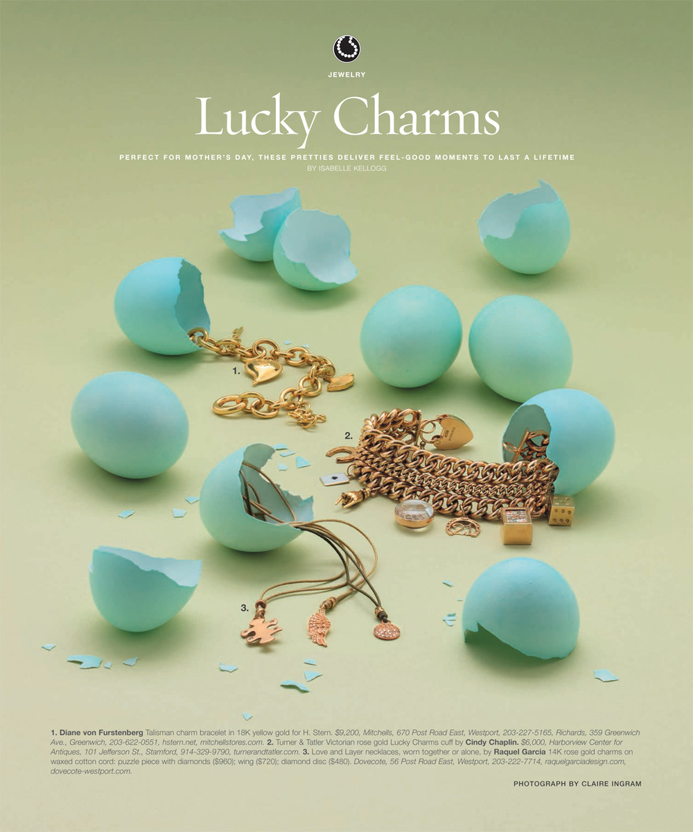 Turner & Tatler's Victorian rose gold Lucky Charms cuff, featured in Connecticut Cottages & Gardens fine jewelry spread, May 2013.