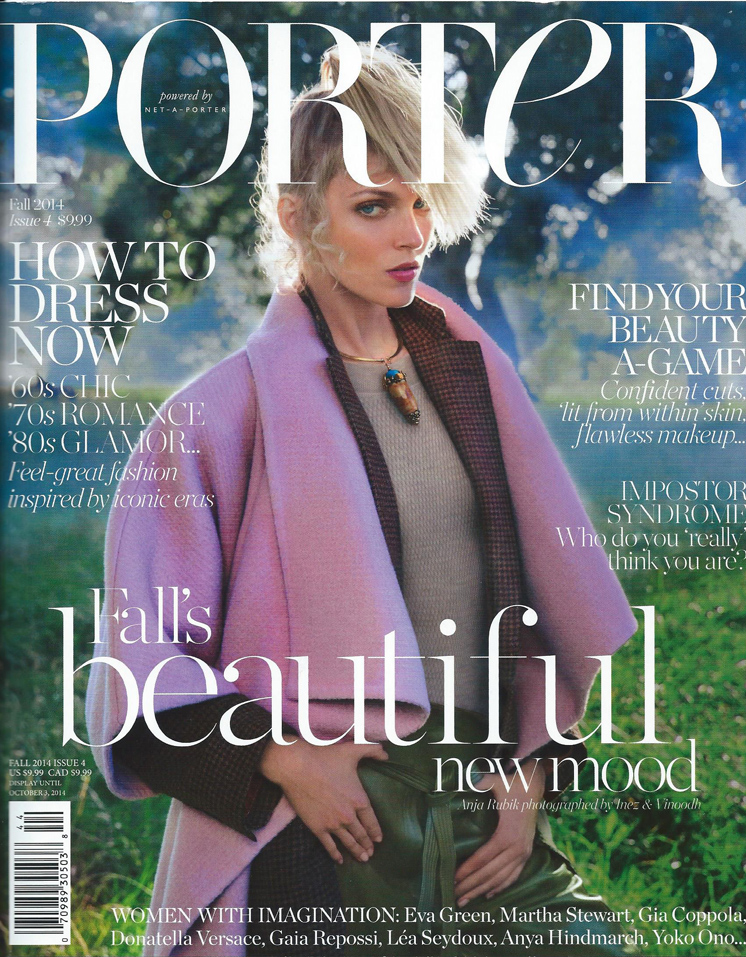 Pieces by Turner & Tatler were featured in fashion spreads in Porter Magazine, Fall 2014.