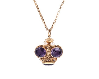Amethyst gold and pearl crown pendant turner tatler antique amethyst gold and pearl crown pendant mozeypictures Gallery