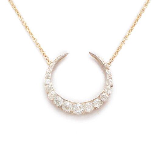 Turner & Tatler 14K Gold Diamond Crescent Necklace 1Ckuh
