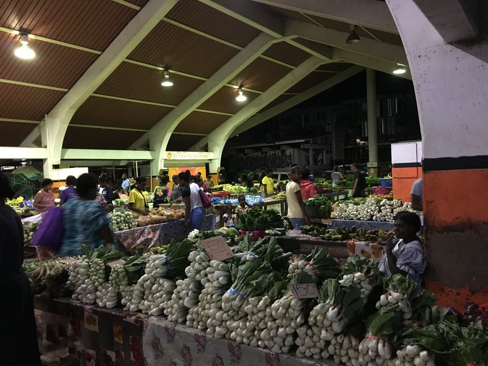 Open-air market in Port Vila. Open 24 hours, except Sundays.