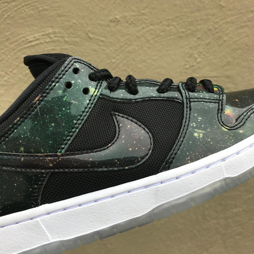 Nike SB 4:20 'Galaxy' Dunk Low has a glossy iridescent galaxy print ubber  with ballistic nylon mesh panels on quarter and tongue. Also features an  icy clear ...