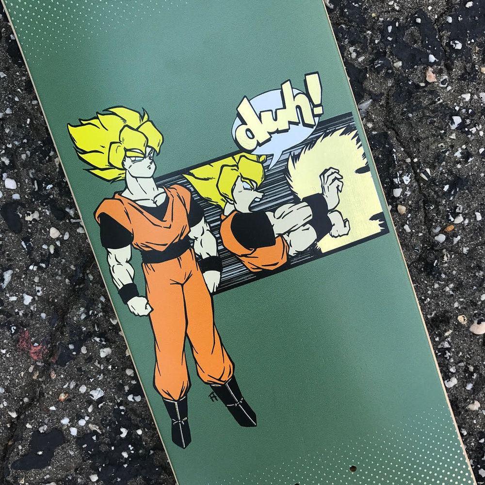 "Our latest shop deck is a throwback graphic from the years when Daville was known as ""duh! skate shop"". It's updated with a fresh colorway, a gold foil print, and the Daville name. Available now In store or on www.davilleskateshop.com"