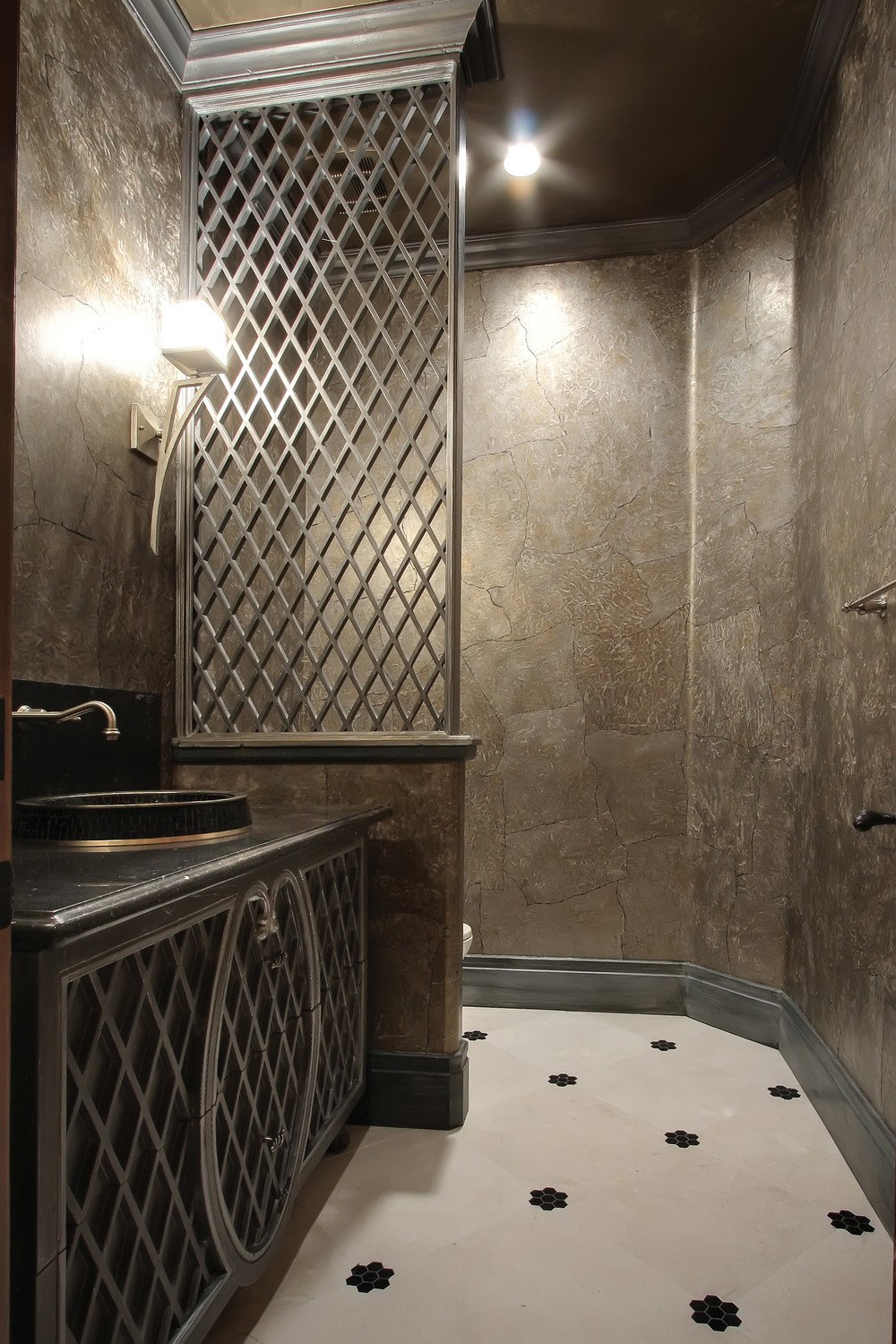 Transitional Lattice Door Powder Bathroom