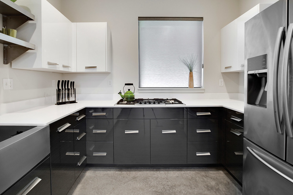 Loft Contemporary Kitchen Cabinets: White & Gray