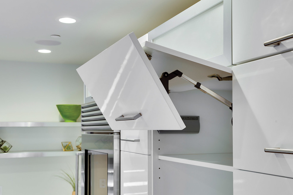Loft Contemporary Kitchen Cabinets: White with Upper Cabinet Pull