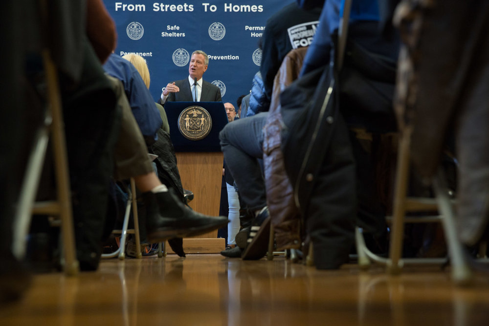 New York City Mayor Bill de Blasio has committed to building 15,000 units of supportive housing over the next 15 years. Photo: Michael Appleton/Mayoral Photography Office