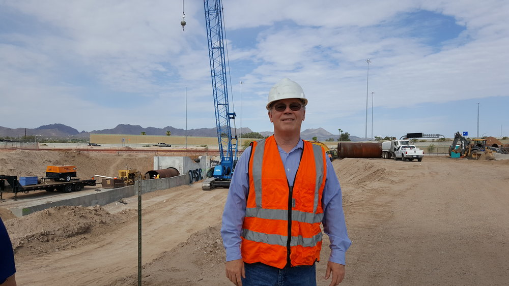 Bill Schlesinger at Flowing Wells Wash jack and bore construction site