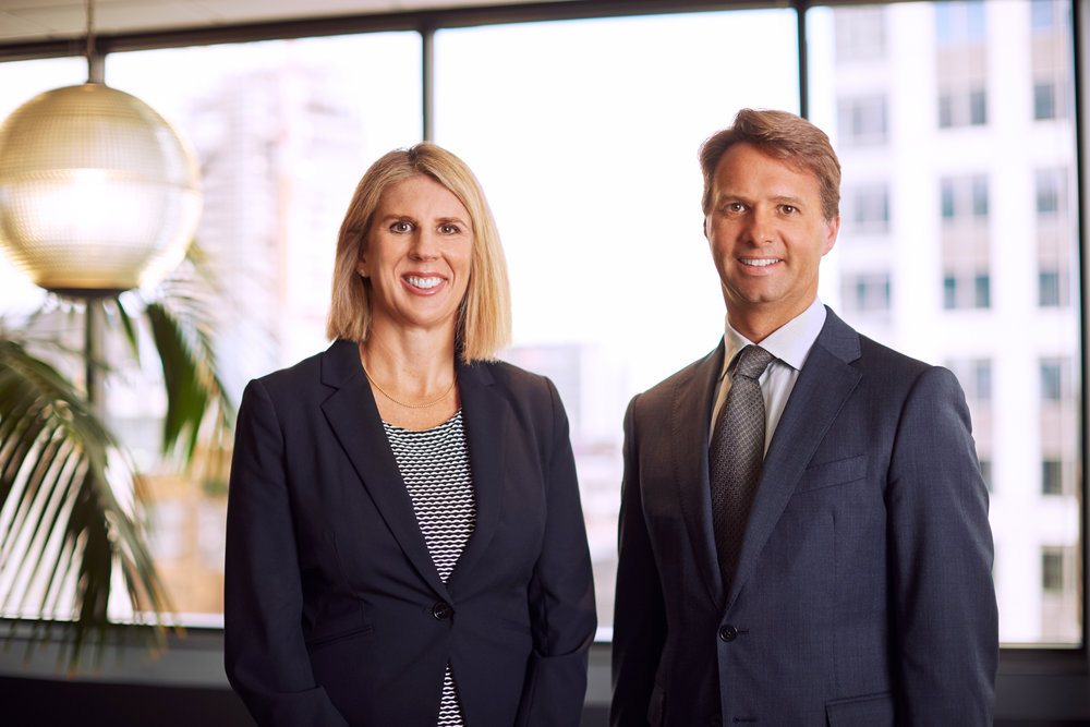 Newly appointed partners Virginia Wethey and Russell Stewart