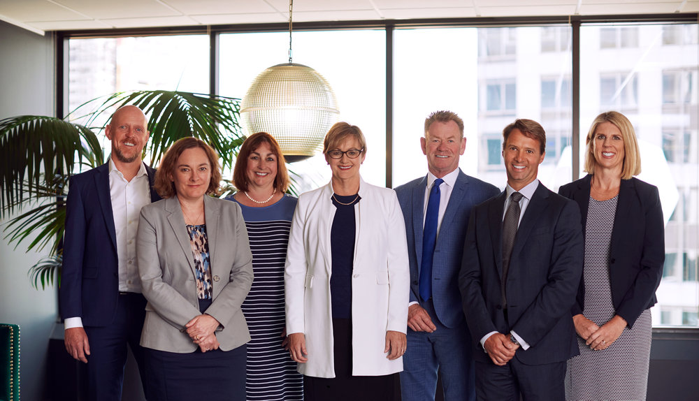 All seven Fee Langstone partners: Matthew Atkinson, Cecily Brick, Pauline Davies, Philippa Fee, Craig Langstone, Russell Stewart and Virginia Wethey
