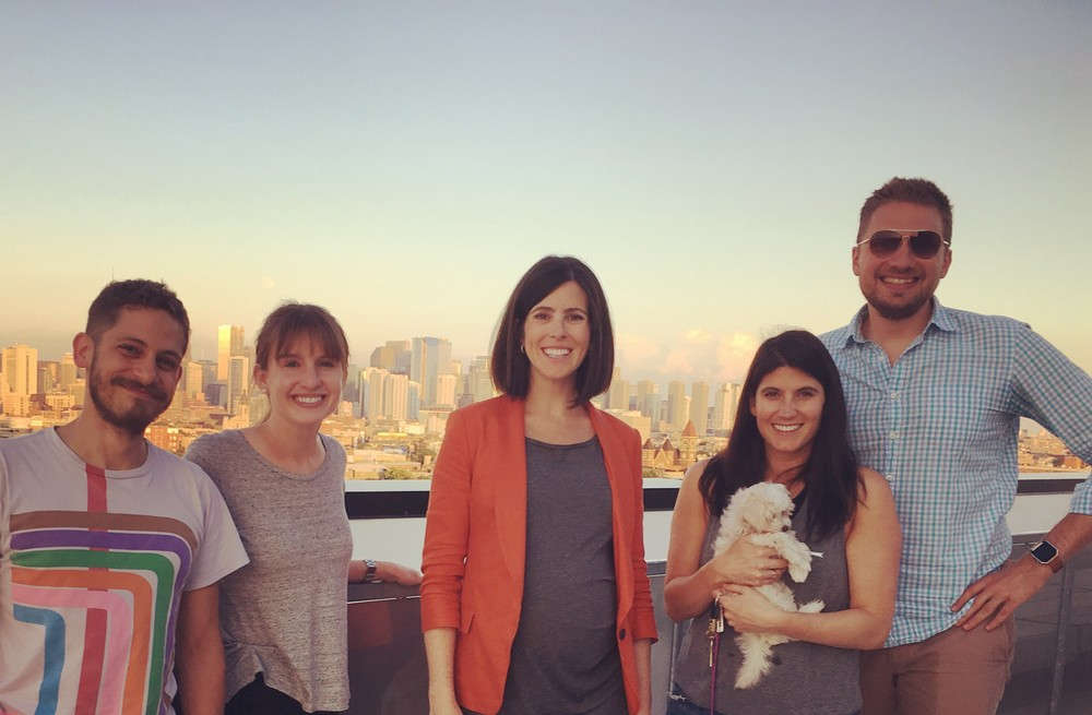 From left to right: Zach Garwood (Developer), Becca Lett (Member Success), Blair Pircon (CEO), Liz Nell (CRO), Ruthie (Liz's new puppy) and Karl Hughes (CTO).